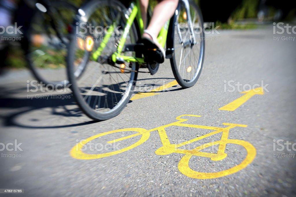 bicycle on bicycle-lane stock photo