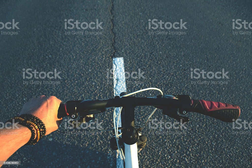 Bicycle on the road stock photo