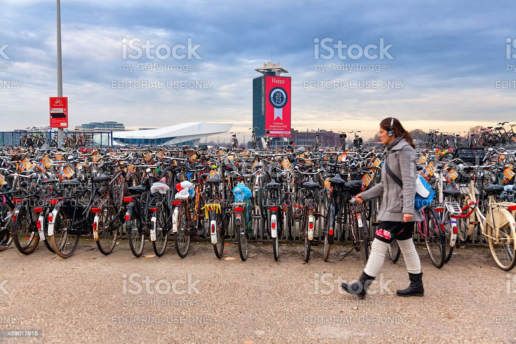 Bicycle Park in Amsterdam, Netherlands royalty-free stock photo