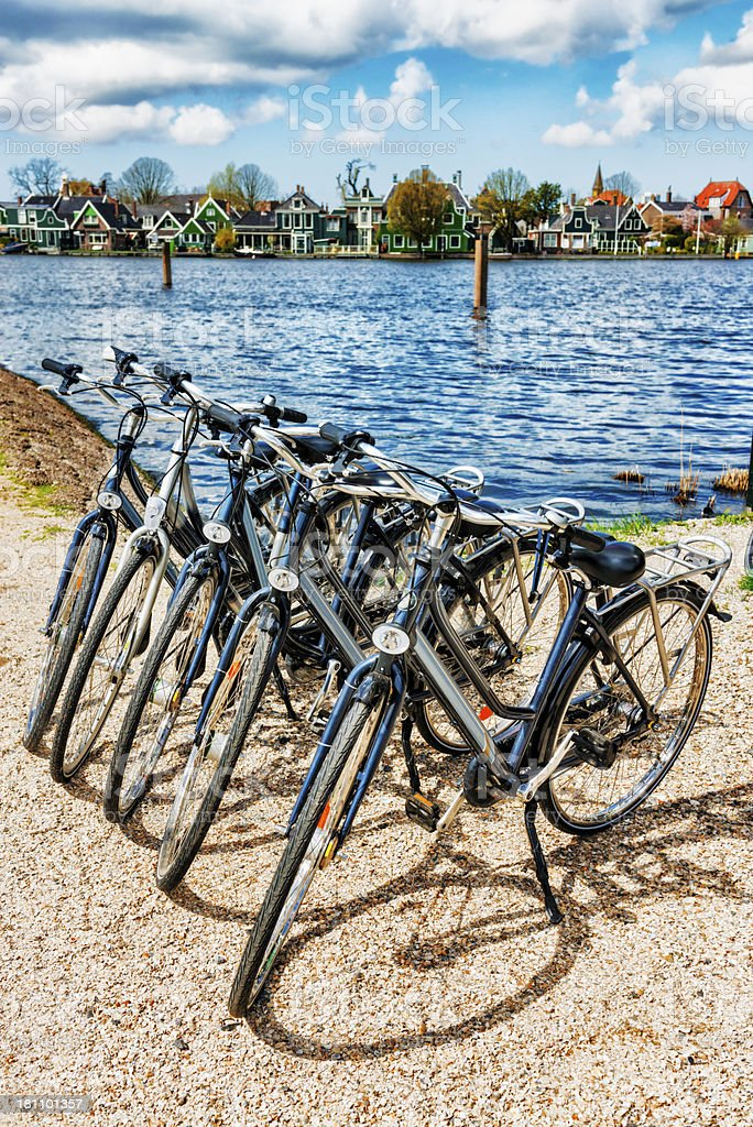 Bicycle Parking and Water Canal in Netherlands royalty-free stock photo