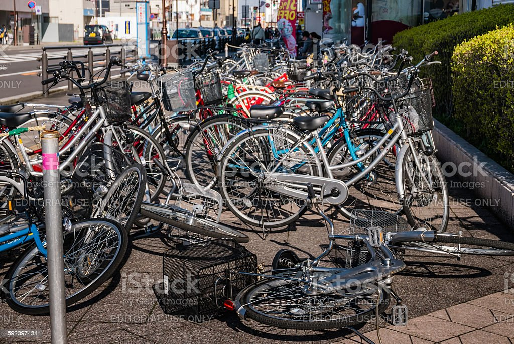 Bicycle parking in Hirosaki city stock photo