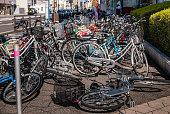 Bicycle parking in Hirosaki city