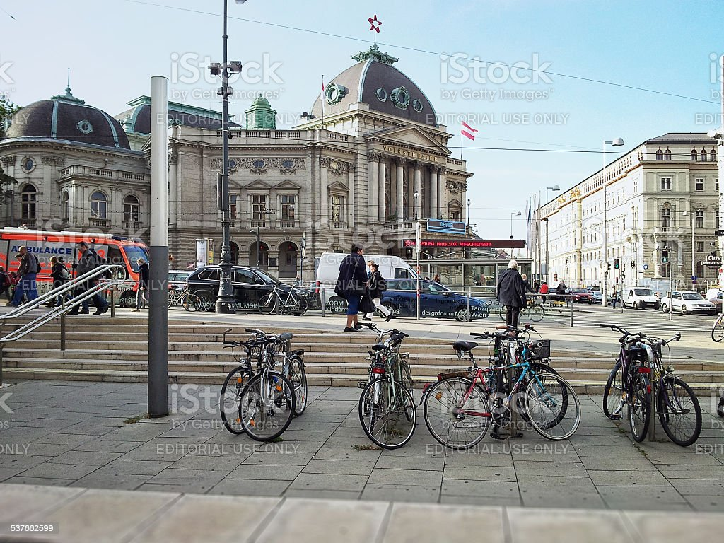 Bicycle parking in MuseumsQuartier, Vienna stock photo