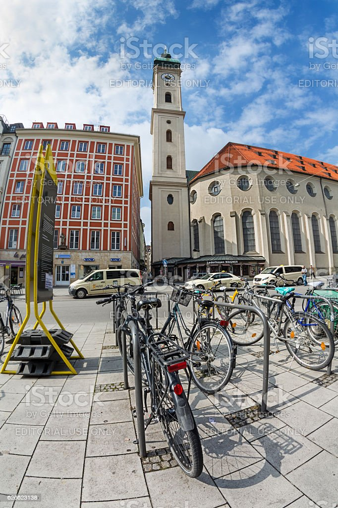 Bicycle parking in the center of Munich stock photo