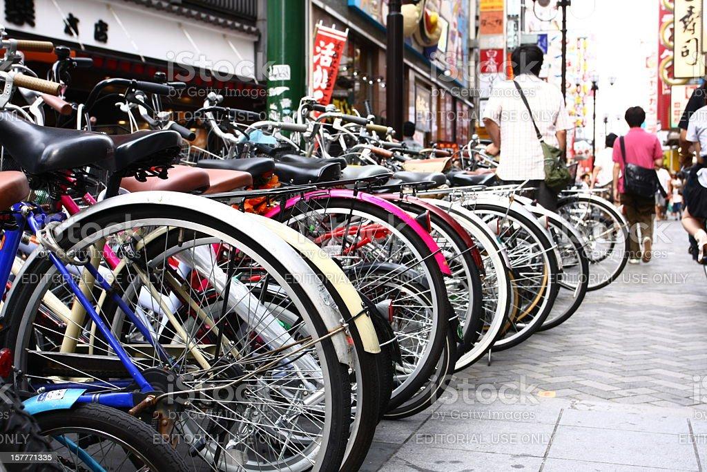 Bicycle parking lane in Osaka stock photo