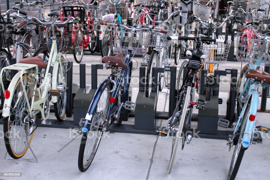 Bicycle parking lot stock photo