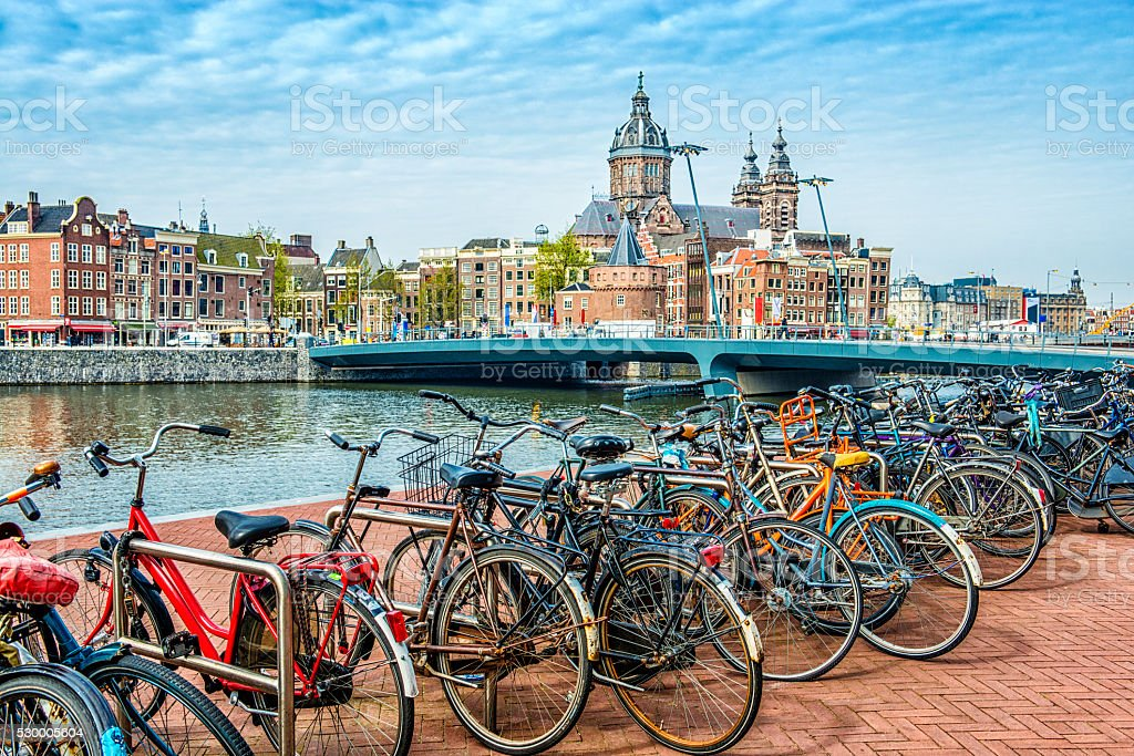Bicycle parking next to Amsterdam City Center stock photo