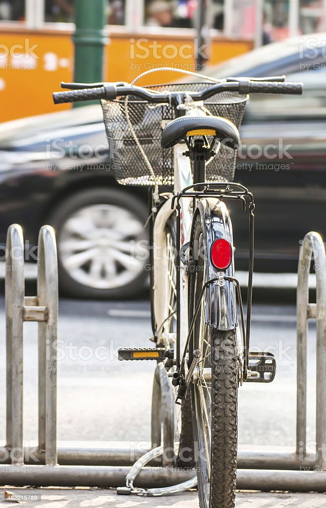 Bicycle parking on sidewalk stock photo