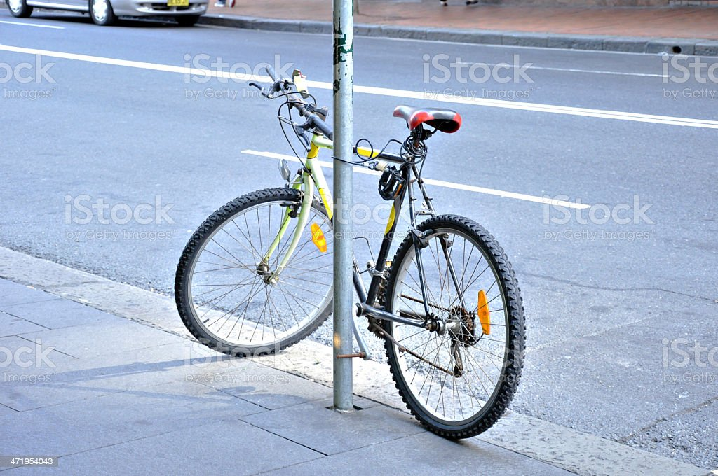 Bicycle parking on the pavement stock photo