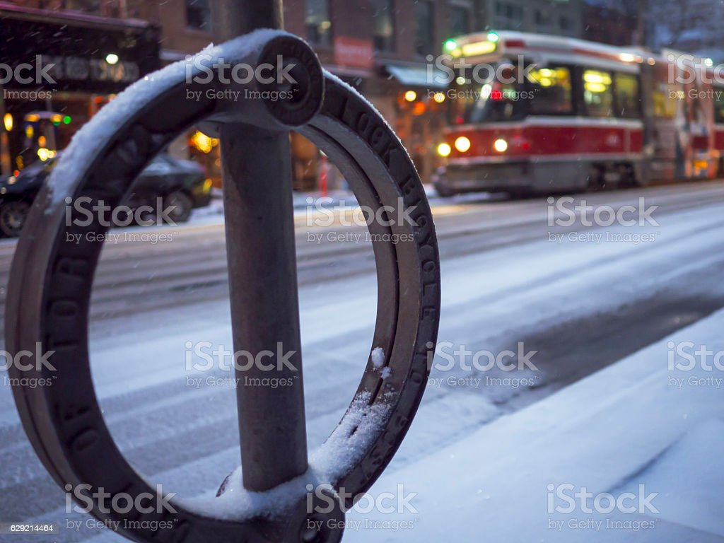 Bicycle Parking Post - Toronto stock photo
