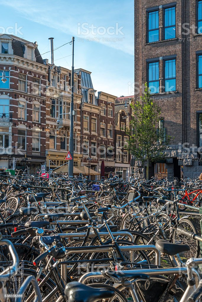Bicycle parking space in Amsterdam stock photo