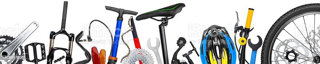 bicycle parts panorama stock photo