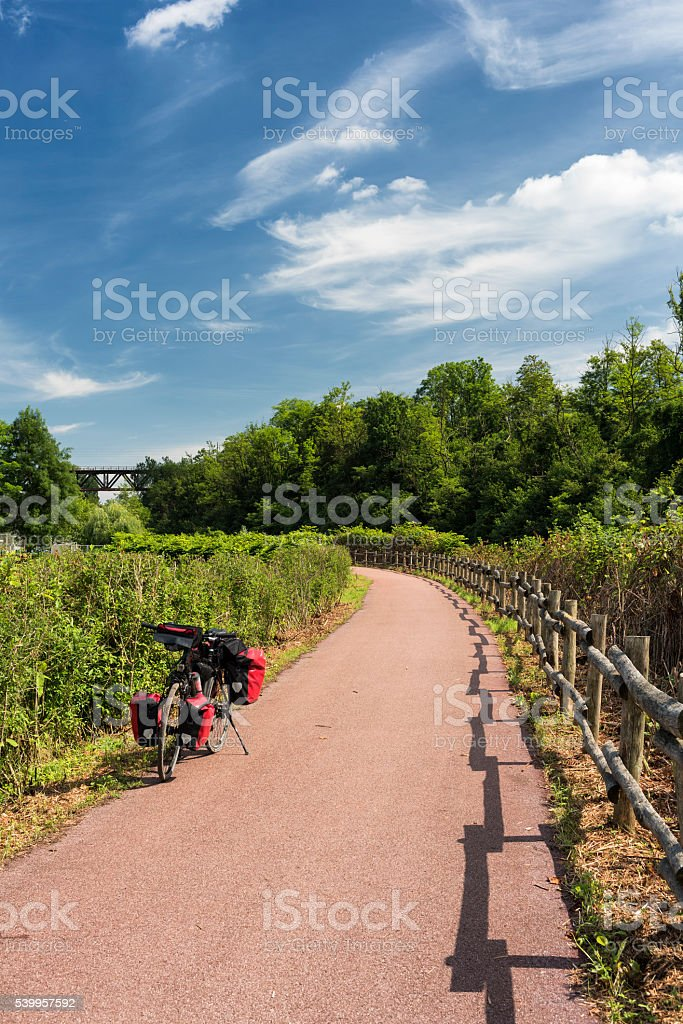 Bicycle path of Lambro river (Brianza, italy) stock photo