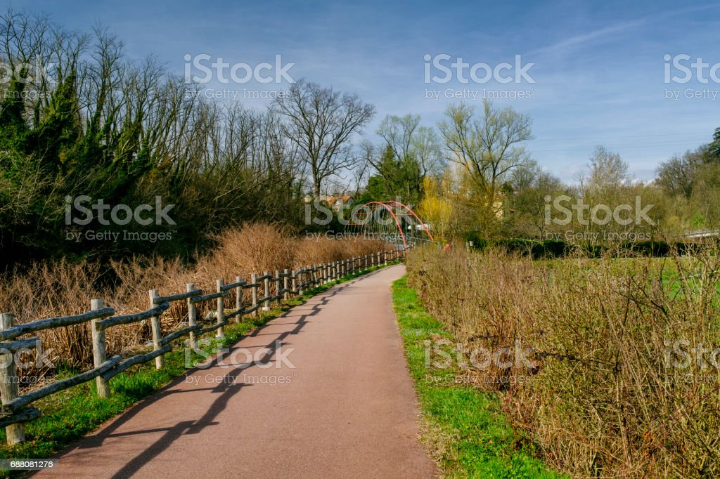 Bicycle path of Lambro valley (Brianza, Italy) stock photo