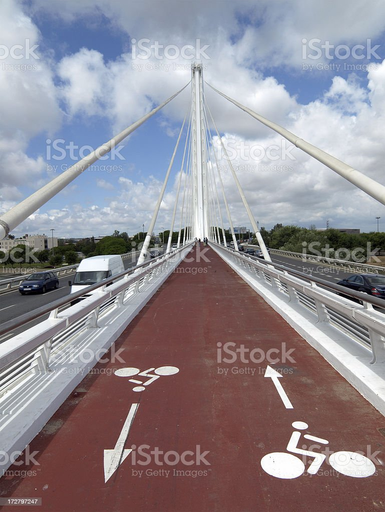 Bicycle Path on La Puente del Alamillo, Seville royalty-free stock photo