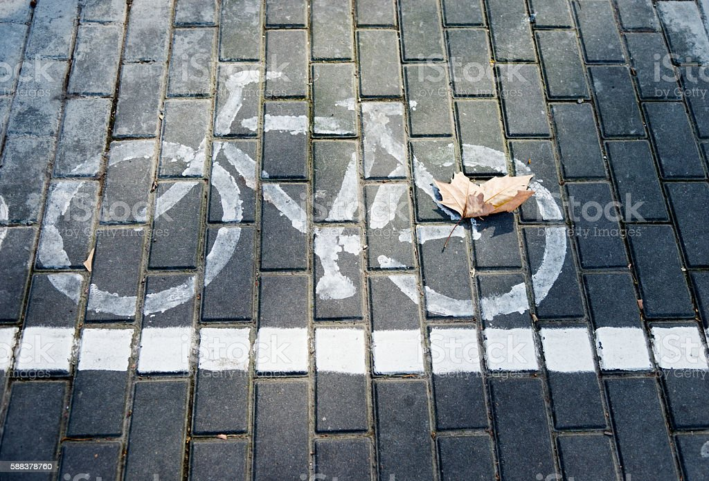bicycle path sign stock photo