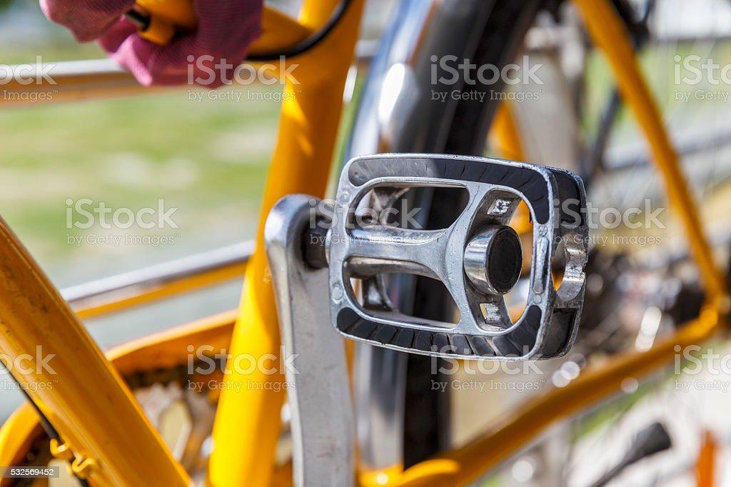 Bicycle pedal.Closeup stock photo