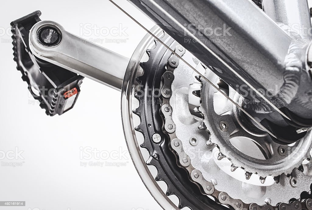bicycle pedals and gear system stock photo