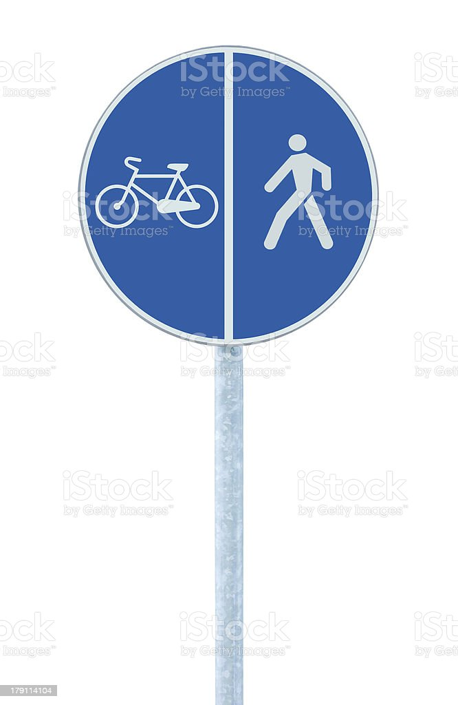 Bicycle pedestrian lane road sign pole post, large blue isolated royalty-free stock photo