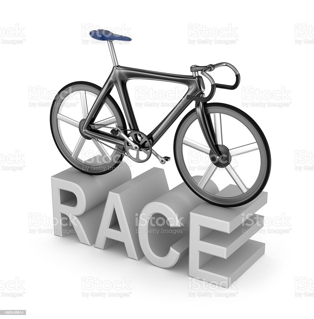 Bicycle race icon on white background. My own bicycle design vector art illustration