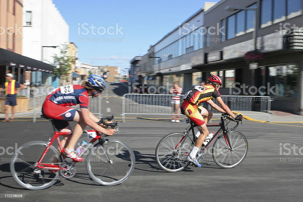 Bicycle race in the city street stock photo