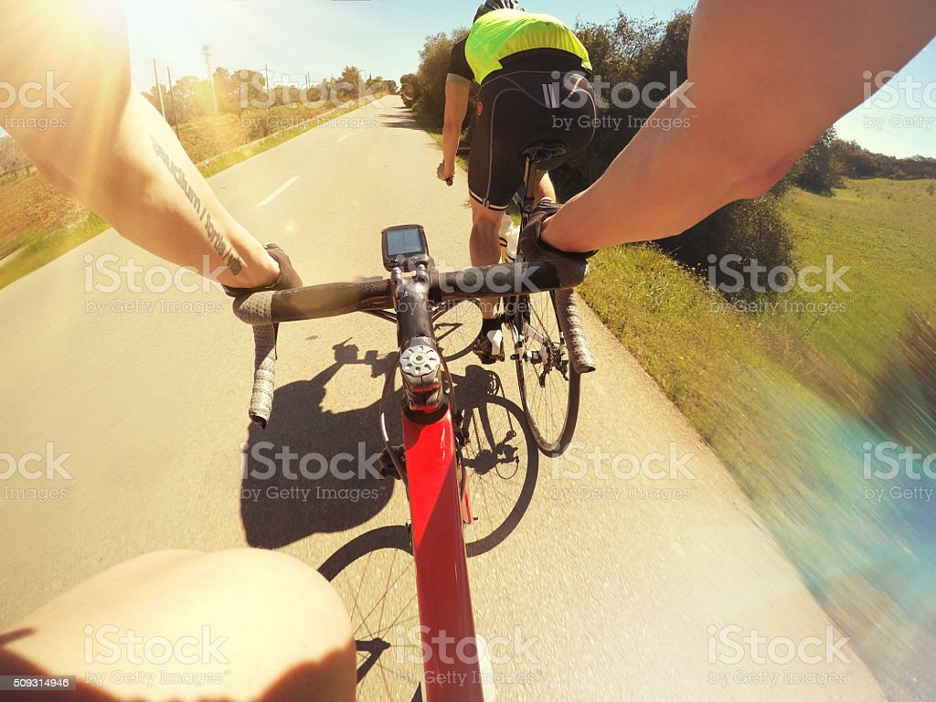 Bicycle racing the pursuit stock photo
