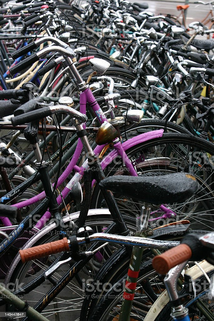 Bicycle Rack at a Train Station royalty-free stock photo