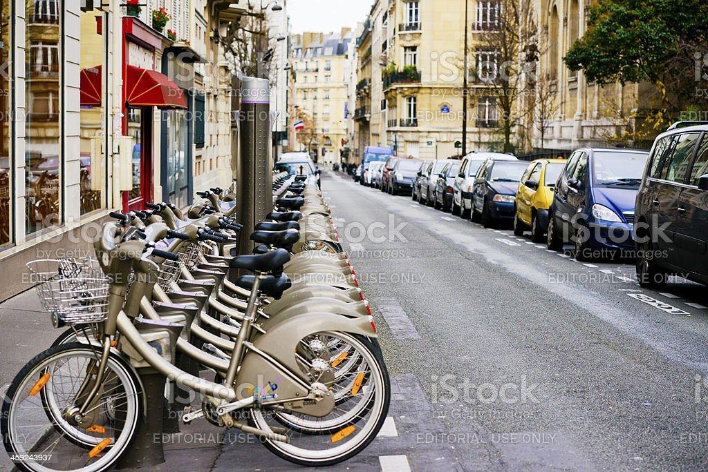 Bicycle Rack on Paris Street stock photo