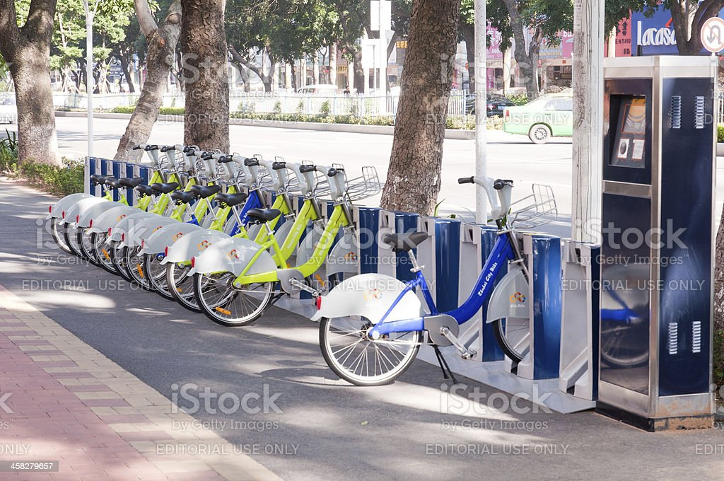 Bicycle Rental in Zhuhai, Guangdong, China. royalty-free stock photo