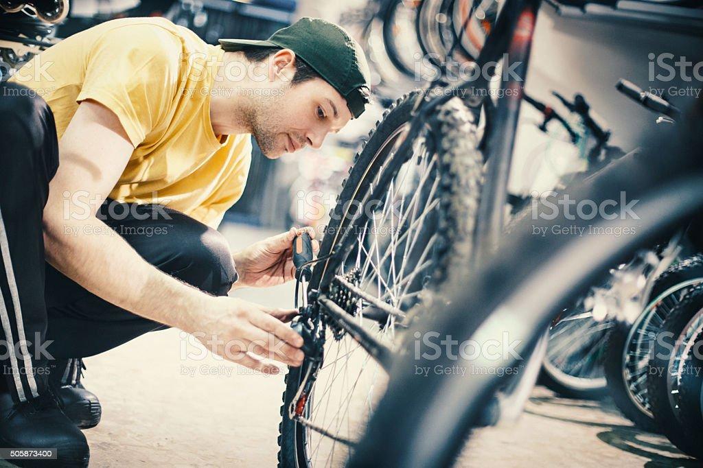 Bicycle repair. stock photo