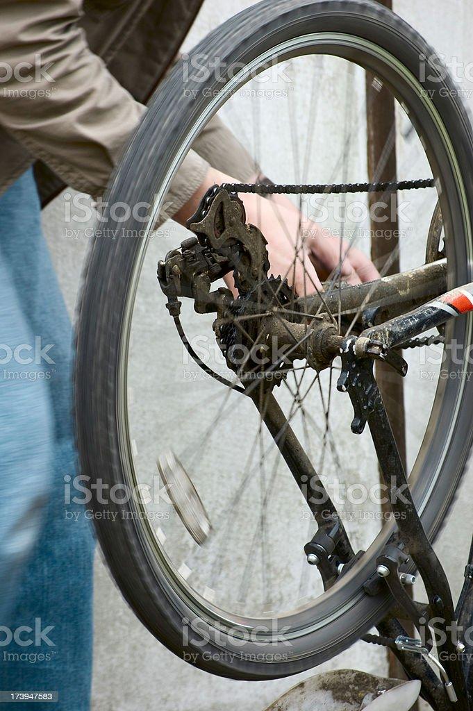 Bicycle repairs and maintenance royalty-free stock photo