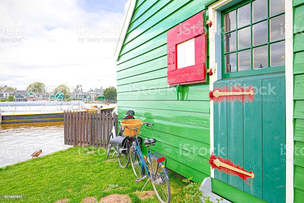 Bicycle resting at the entrance of a Dutch house stock photo
