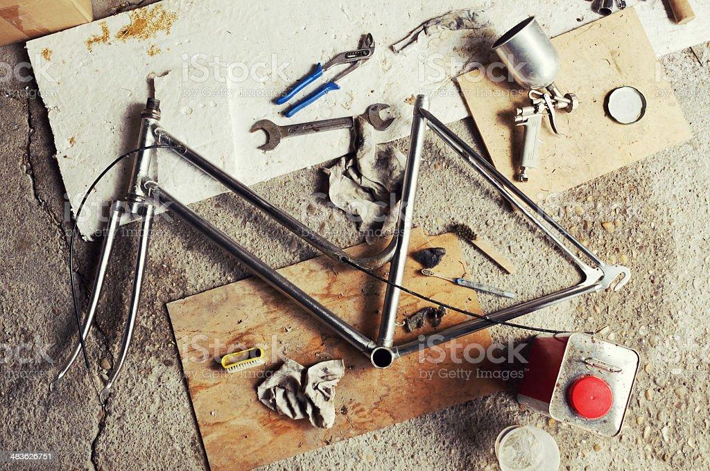 Bicycle Restoring stock photo