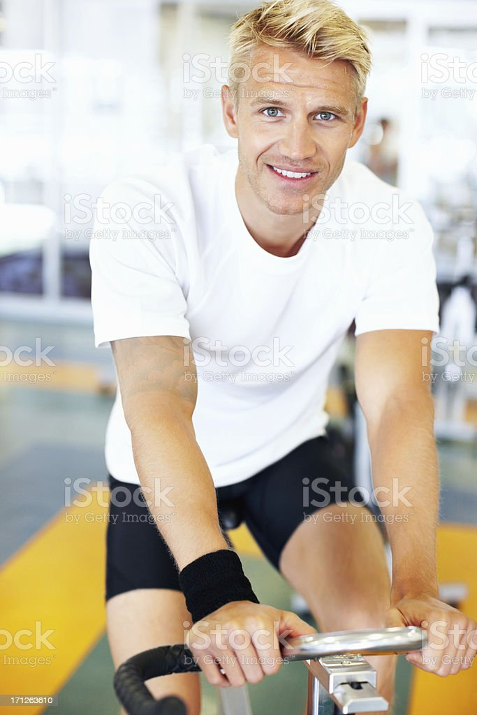 Bicycle ride in gym royalty-free stock photo