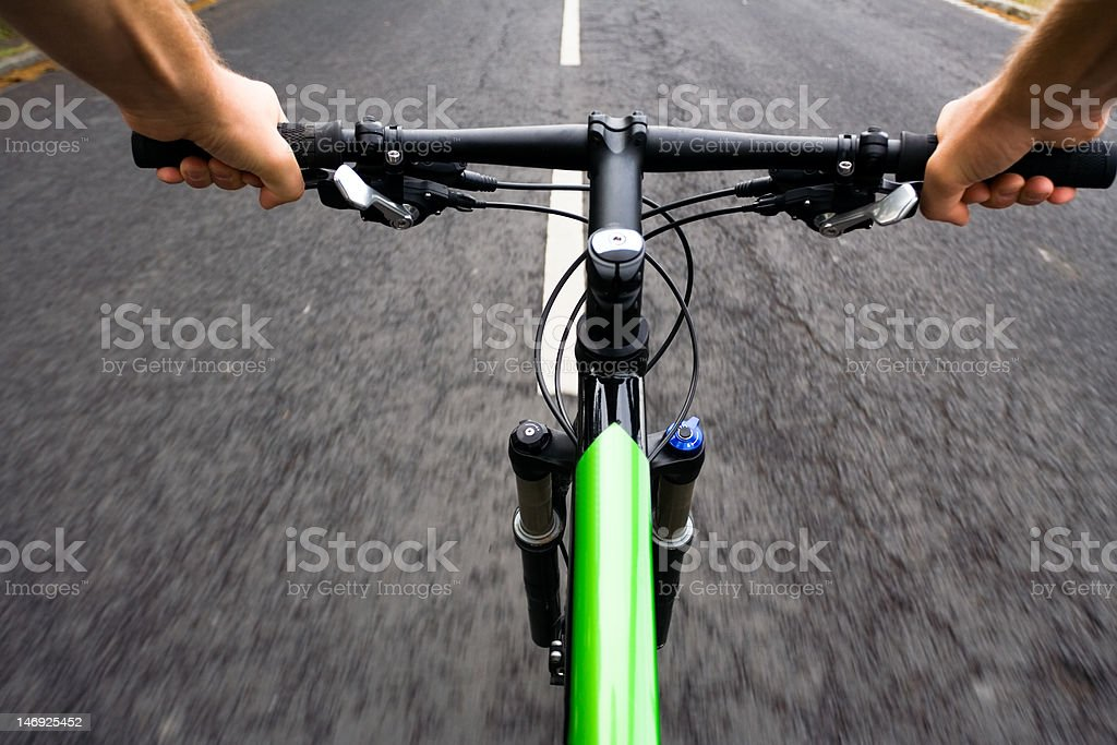 Bicycle ride, motion blur stock photo