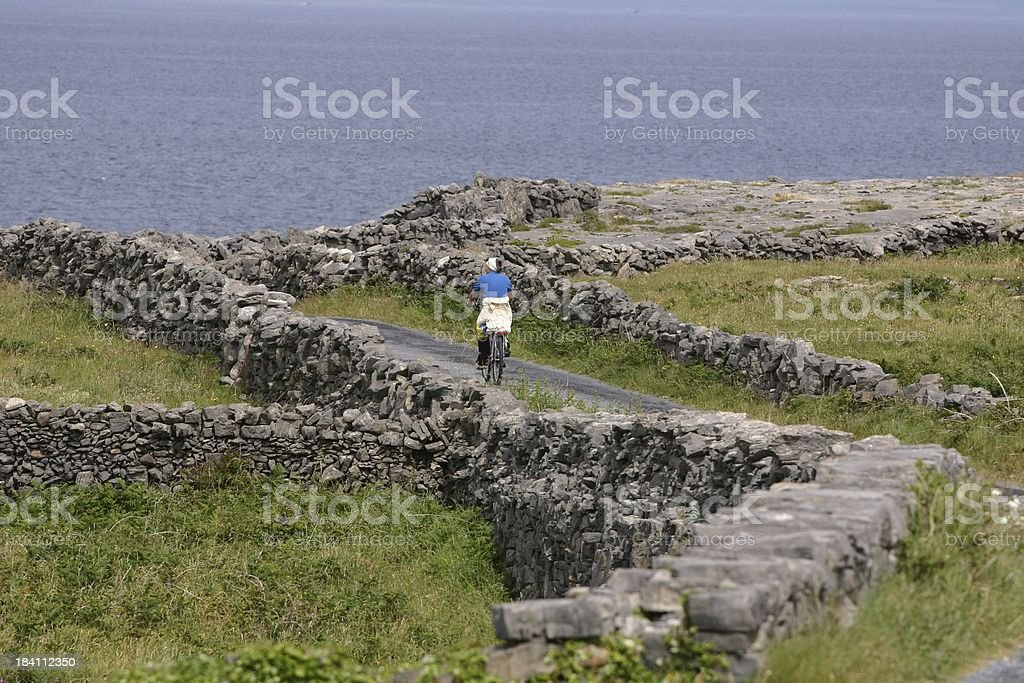 bicycle ride on remote country road, Ireland royalty-free stock photo