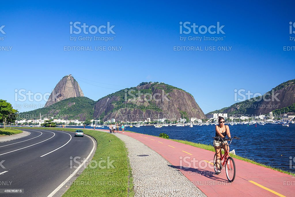 Bicycle rider at Rio de Janeiro royalty-free stock photo