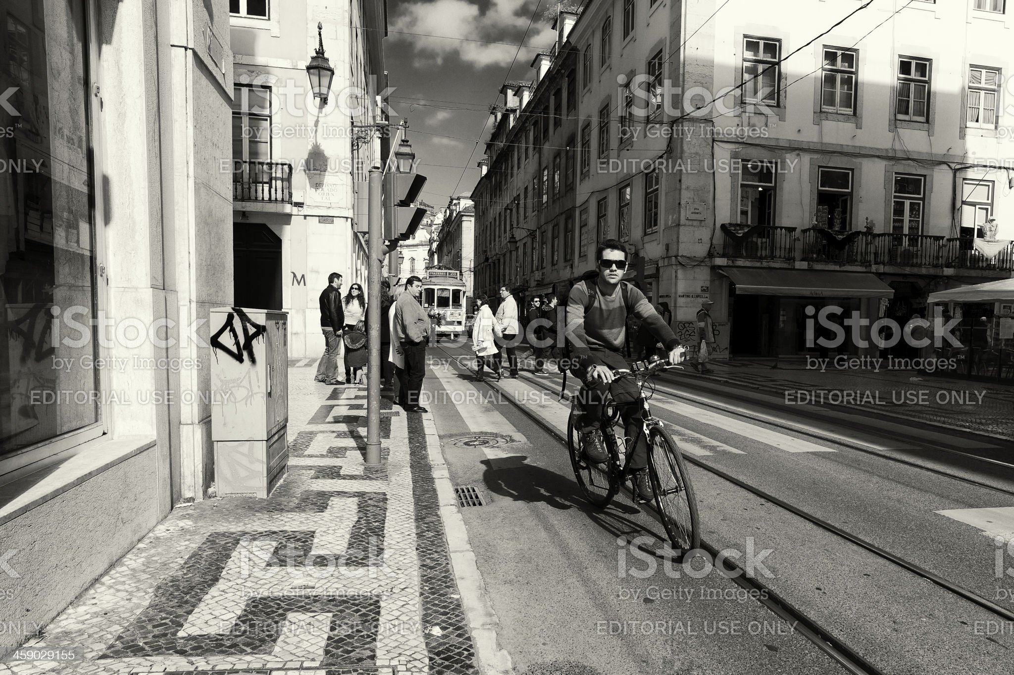 Bicycle Rider in Lisbon royalty-free stock photo