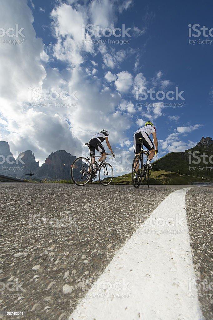 Bicycle road Dolomites and I stock photo