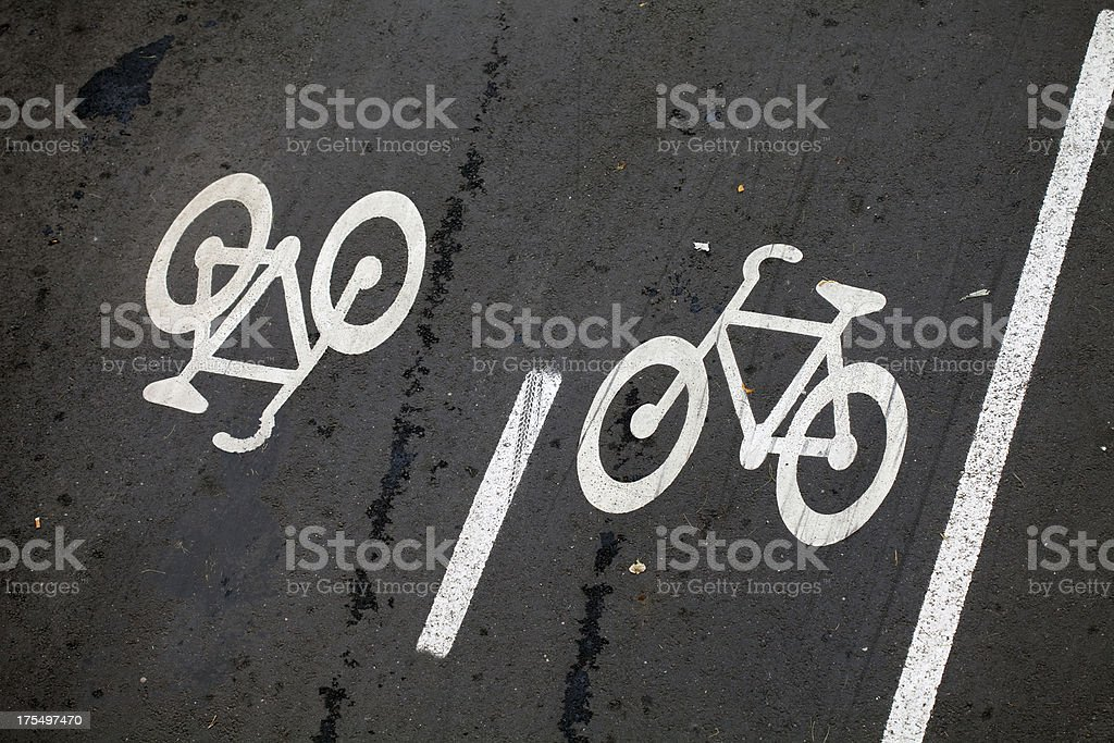 Bicycle road in two directions royalty-free stock photo