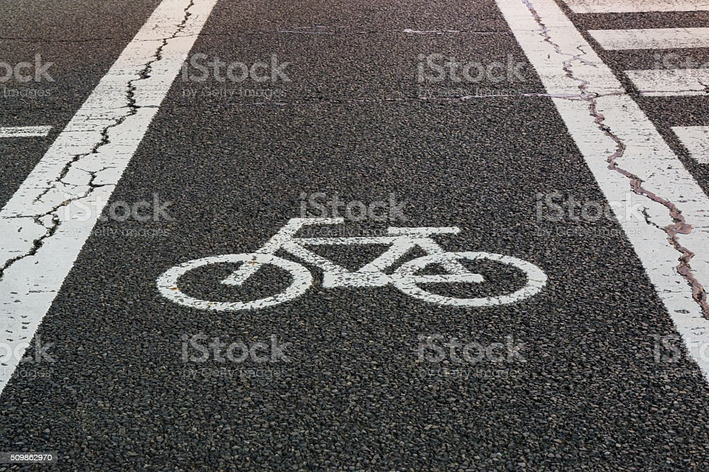 Bicycle road sign. stock photo