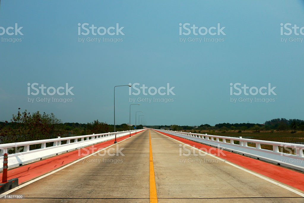bicycle road under the blue sky background stock photo