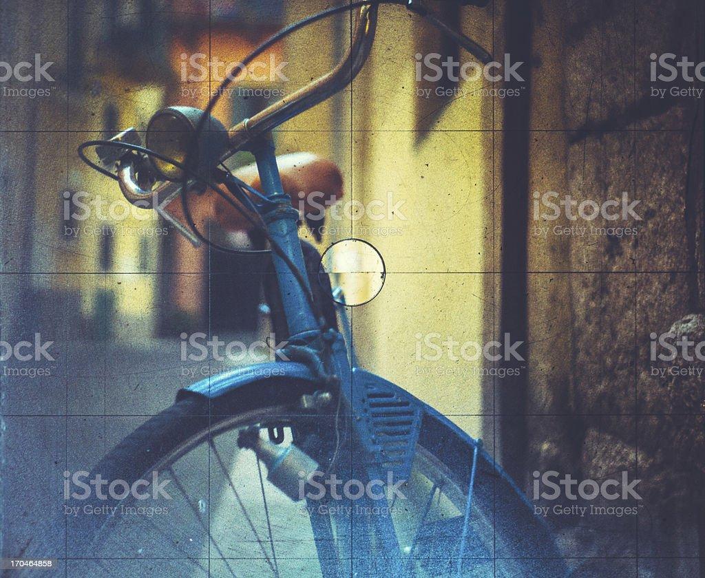 Bicycle seen through a Vintage Camera stock photo