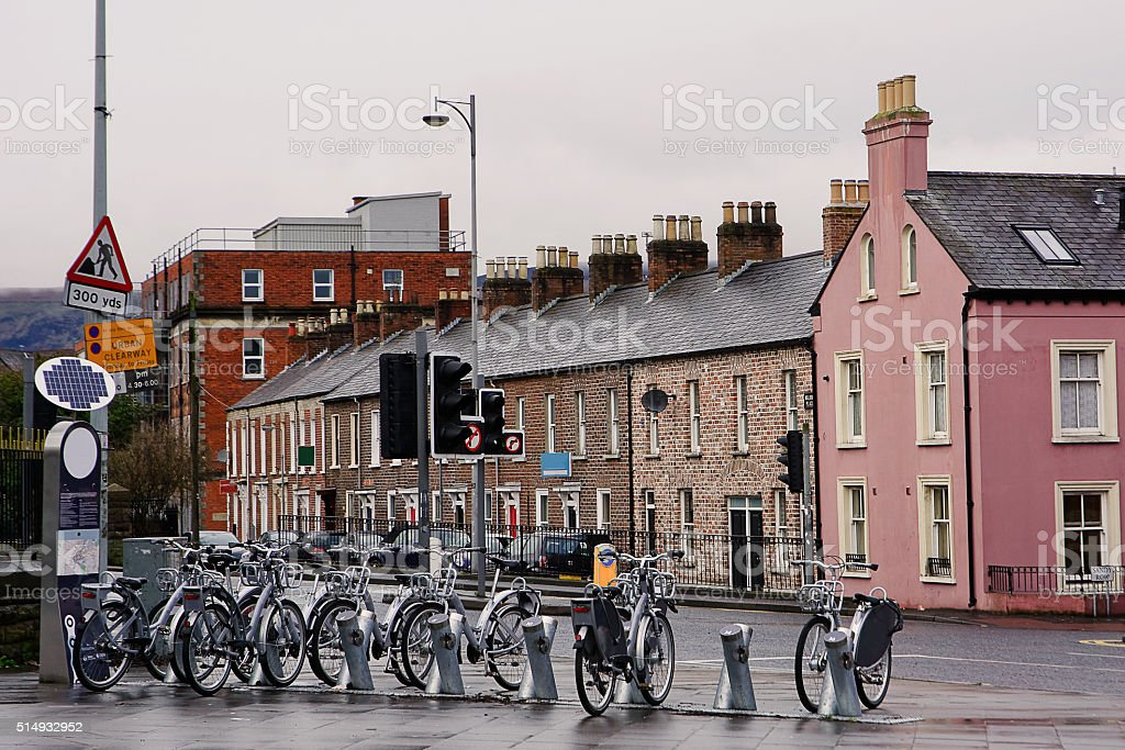 Bicycle sharing in Belfast stock photo