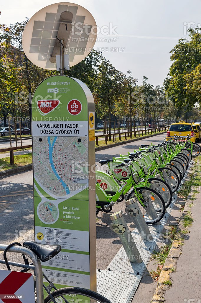 Bicycle Sharing Service Bubi Mol Bike in Budapest, Hungary. stock photo