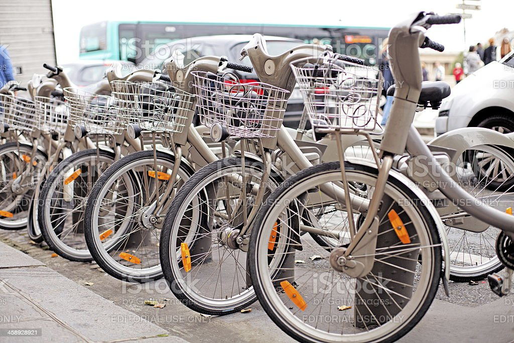 Bicycle sharing system in Paris stock photo