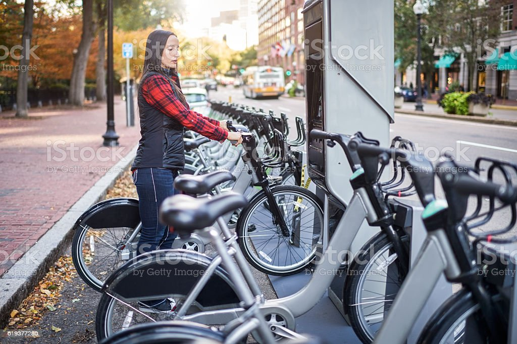 Bicycle sharing system stock photo
