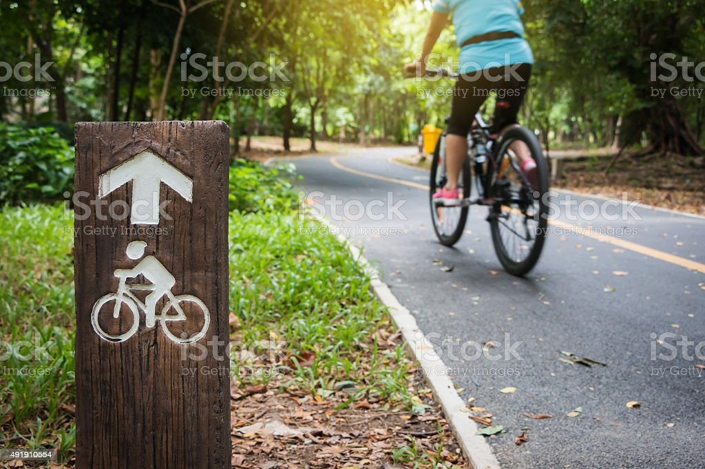 Bicycle sign, Bicycle Lane in public park stock photo