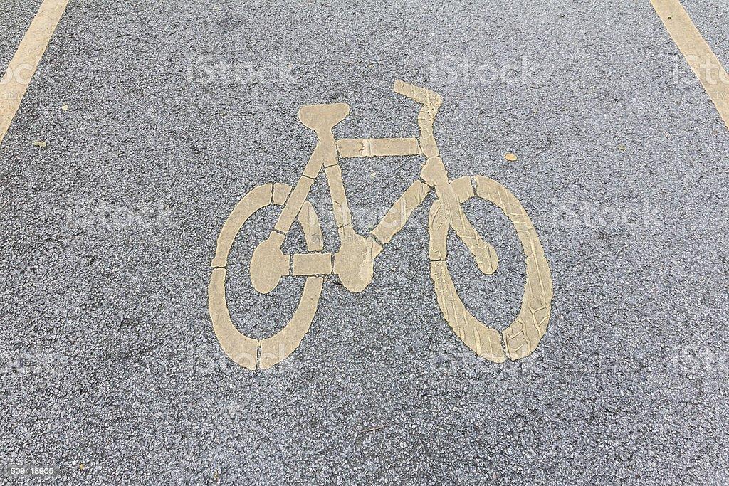 Fahrrad-Schild auf der Zement road Lizenzfreies stock-foto