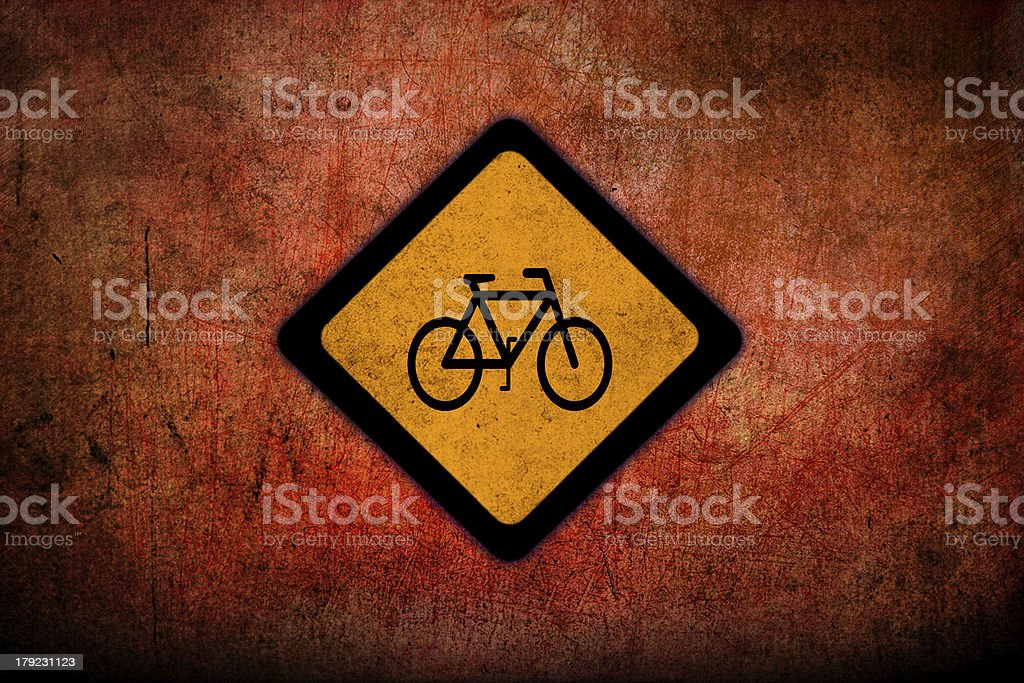 Bicycle sign yellow. stock photo